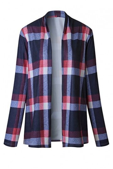 Print Shirt Long Sleeve Open Front Cardigan-Blue