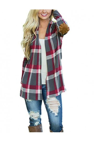 Print Shirt Long Sleeve Open Front Cardigan-Gray