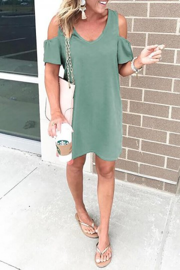 Solid color sexy V-neck strapless dress-Green