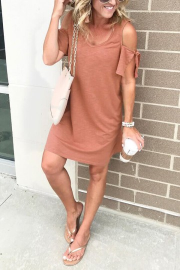 Solid color sexy V-neck strapless dress-Pink
