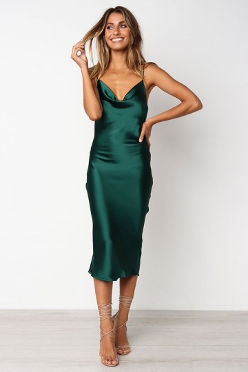 Slim and Sexy Strapless Dress-Deep Green