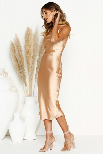 Slim and Sexy Strapless Dress-Gold