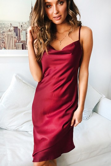 Slim and Sexy Strapless Dress-Red