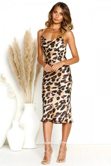Slim and Sexy Strapless Dress-Leopard