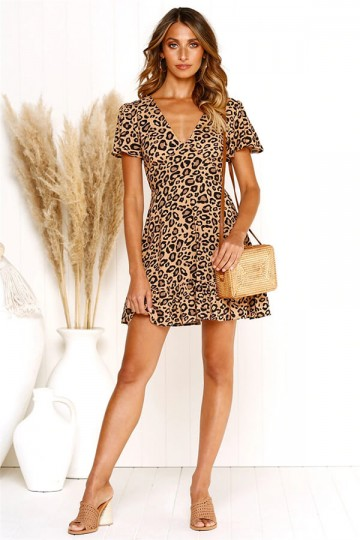 Leopard sexy deep V-neck dress-Khaki