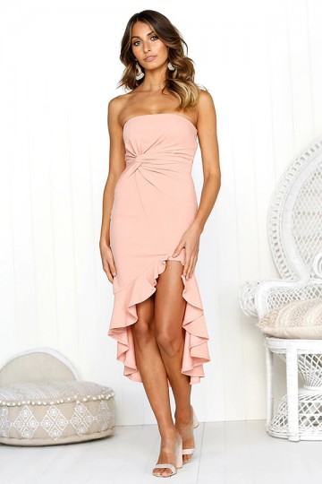 Sexy Tube Top Ruffled Dress-Pink