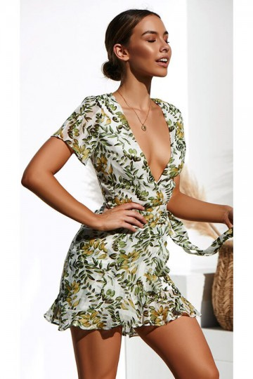 Printed sexy deep V-neck dress-White