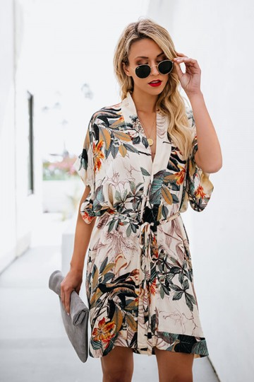 Button-fastened Printed V-collar Dress-White