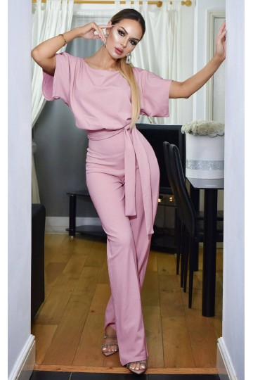 Short sleeve round neck long jumpsuit-Pink