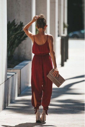 Backless Spaghetti Straps Deep V-neck Jumpsuit-Red