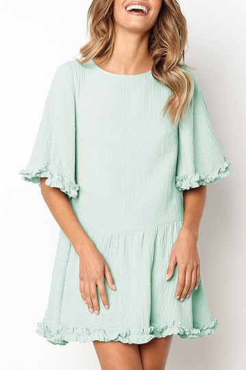 Pleated Round Neck Mini Dress-Green
