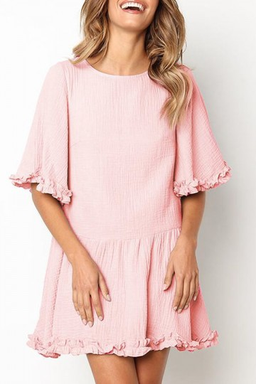 Pleated Round Neck Mini Dress-Pink