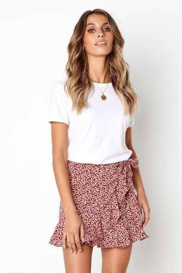 Leopard print stitching skirt-Red