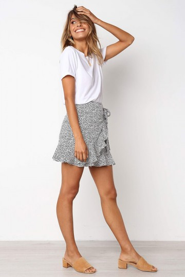 Leopard print stitching skirt-White