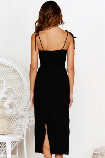 Slim-fit strap dress-Black