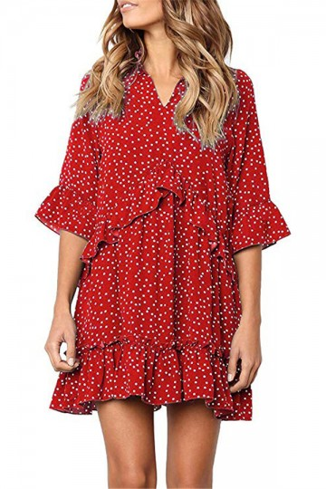 Polka-stitched pleated dress-Red