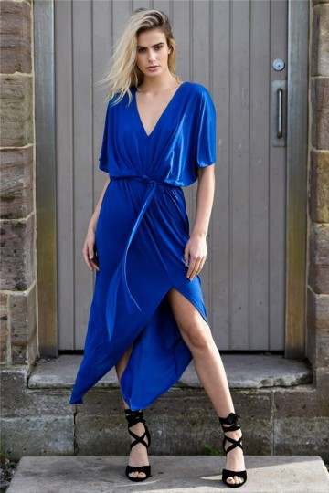 Summer Sexy V-neck Waistband Split Dress-Blue