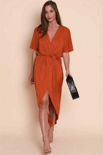 Summer Sexy V-neck Waistband Split Dress-Orange