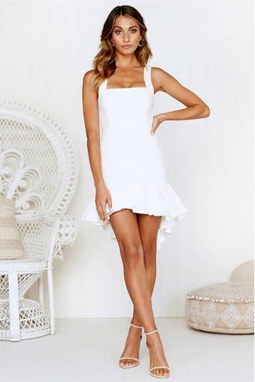 Ruffled irregular backless dress-White