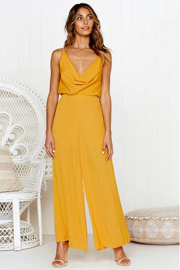 Sexy back cross backless jumpsuit-Yellow