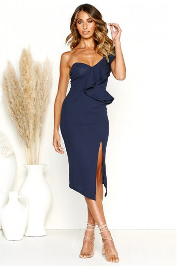 Sexy Halter Sling Ruffle Dress-Blue