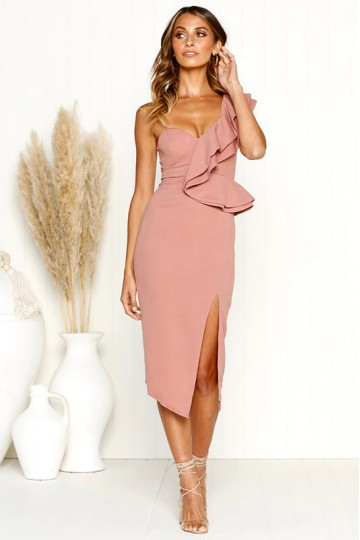 Sexy Halter Sling Ruffle Dress-Pink