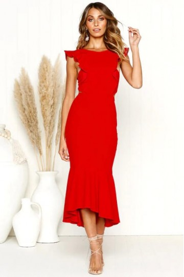 Ruffled irregular backless dress-Red