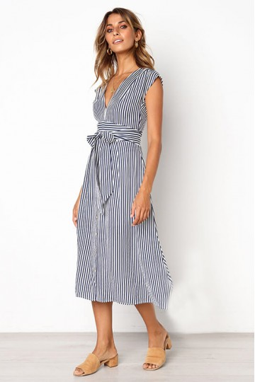 Striped lace-up button dress-Blue