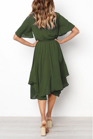 Slim-fit irregular short-sleeved dress-Green