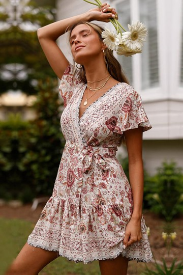 Summer Fashion Print V-neck Waist Belt Dress-White