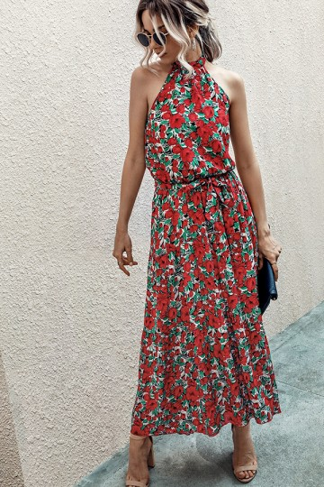 Halter Neck Floral Print Polka Dot Solid Color Long Beach Maxi Dress