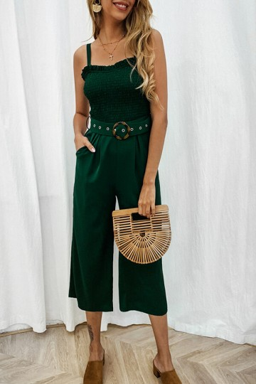 Summer Sexy Sling Backless Pocket Jumpsuit with Belt-Green