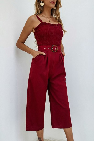 Summer Sexy Sling Backless Pocket Jumpsuit with Belt-Red