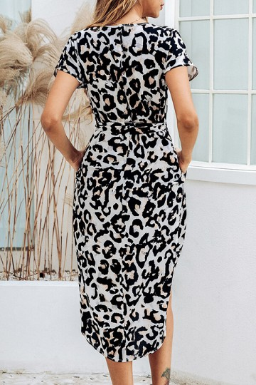 Summer Print Square Stripe Front Slit Midi Dress with Belt-Leopard