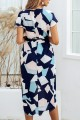 Summer Print Square Stripe Front Slit Midi Dress with Belt-Navy