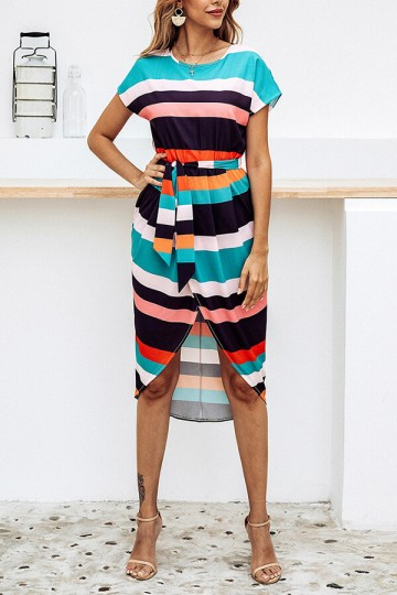 Summer Print Square Stripe Front Slit Midi Dress with Belt-Stripe