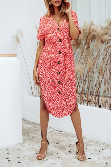 Summer Fashion Printed V-Neck Button Irregular Split Dress-Red