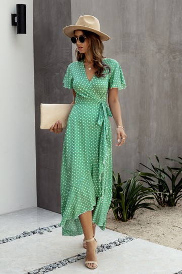 Boho Dot V Neck Split Belted Maxi Dress