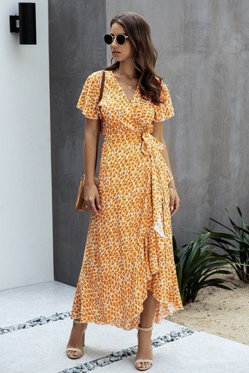 Boho Floral V Neck Split Belted Maxi Dress