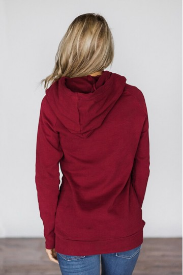 Maya - Oblique Zipper Drawstring Double Hoodie