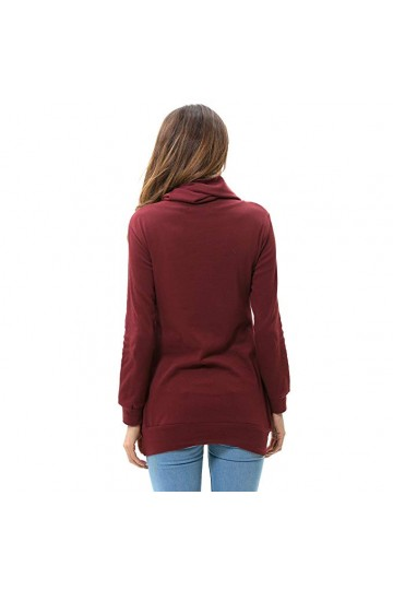 Cowl Neck Casual Slim Tunic Tops-Wine